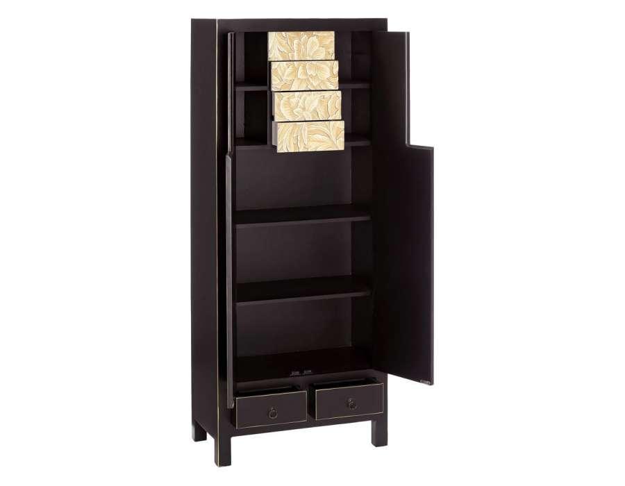 Armoire 2 portes noire chic style chinois pour une chambre - Armoire chinoise noire ...