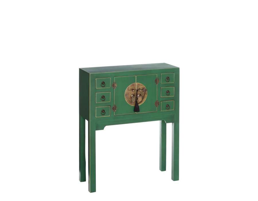petite console chinoise verte 6 tiroirs meuble chinois. Black Bedroom Furniture Sets. Home Design Ideas