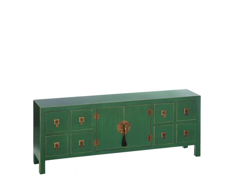 Meuble de rangement bas chinois vert avec 8 tiroirs for Meuble bas avec tiroir