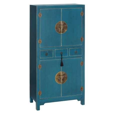 Armoire chinoise 4 portes bleue