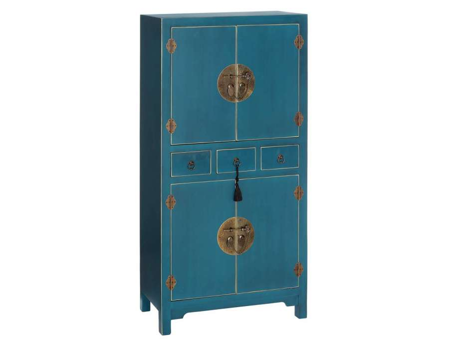 armoire bleue style chinois pour une chambre. Black Bedroom Furniture Sets. Home Design Ideas