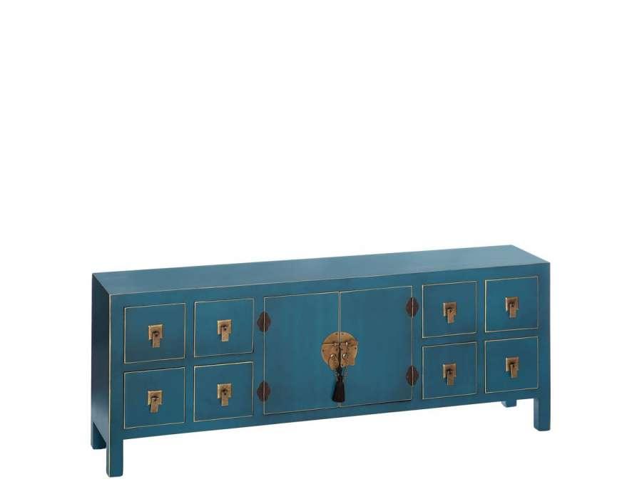 meuble de rangement bas chinois bleu avec 8 tiroirs meuble chinois pas cher. Black Bedroom Furniture Sets. Home Design Ideas