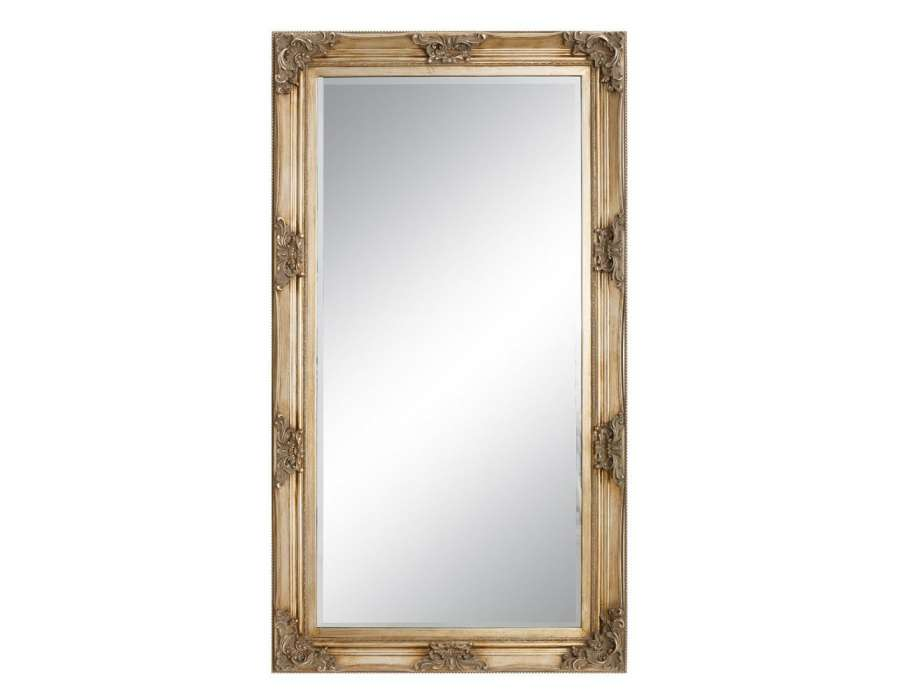 Grand miroir bois naturel avec dorure 180 cm