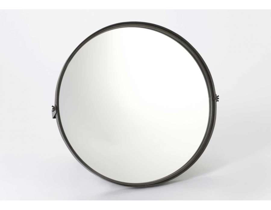 Miroir rond métal noir