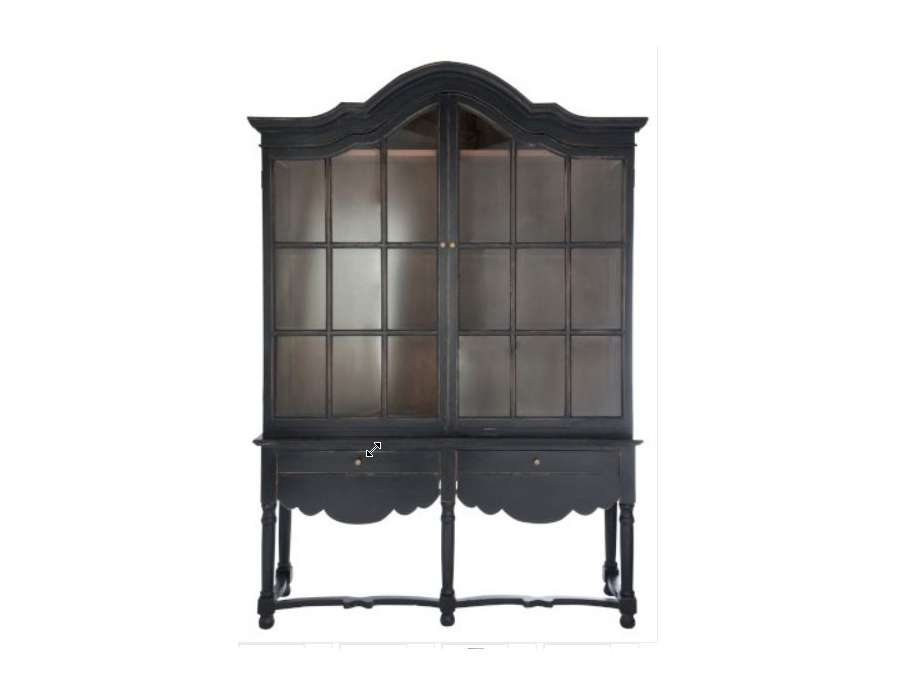 vaisselier noir ou meuble vitr haut romantique italien. Black Bedroom Furniture Sets. Home Design Ideas