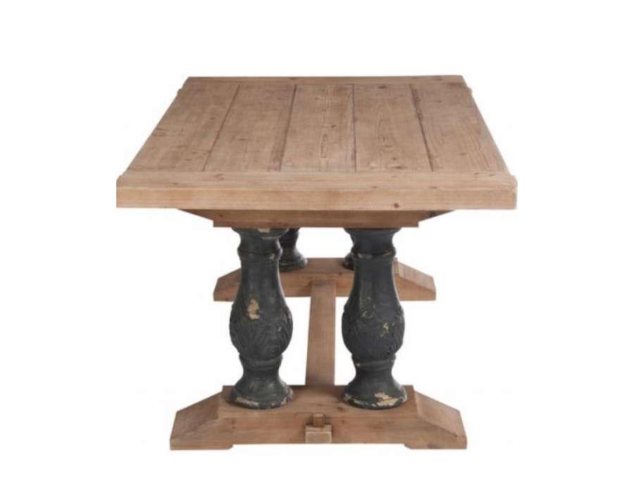table bois massif de 180 cm pieds noirs chics. Black Bedroom Furniture Sets. Home Design Ideas