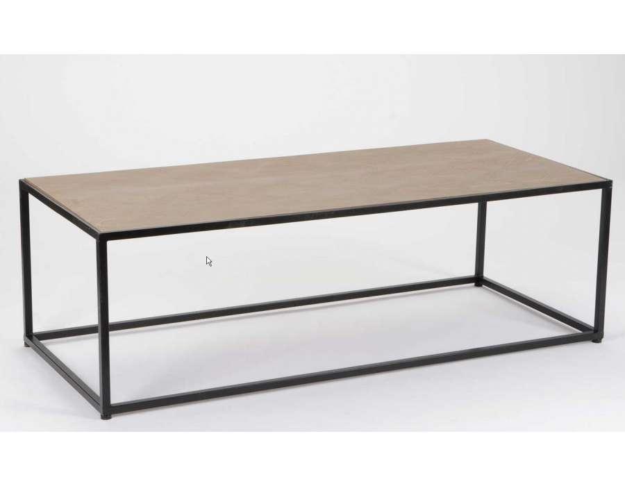 table salon bois metal maison design. Black Bedroom Furniture Sets. Home Design Ideas