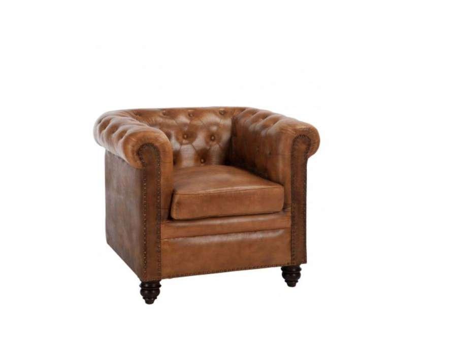 fauteuil chesterfield cuir vieilli jolipa. Black Bedroom Furniture Sets. Home Design Ideas
