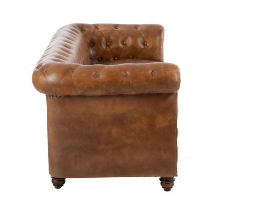 canap 233 vintage cuir anglais forme chesterfield
