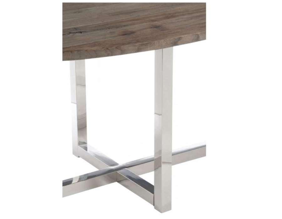 Table ovale moderne bois et acier