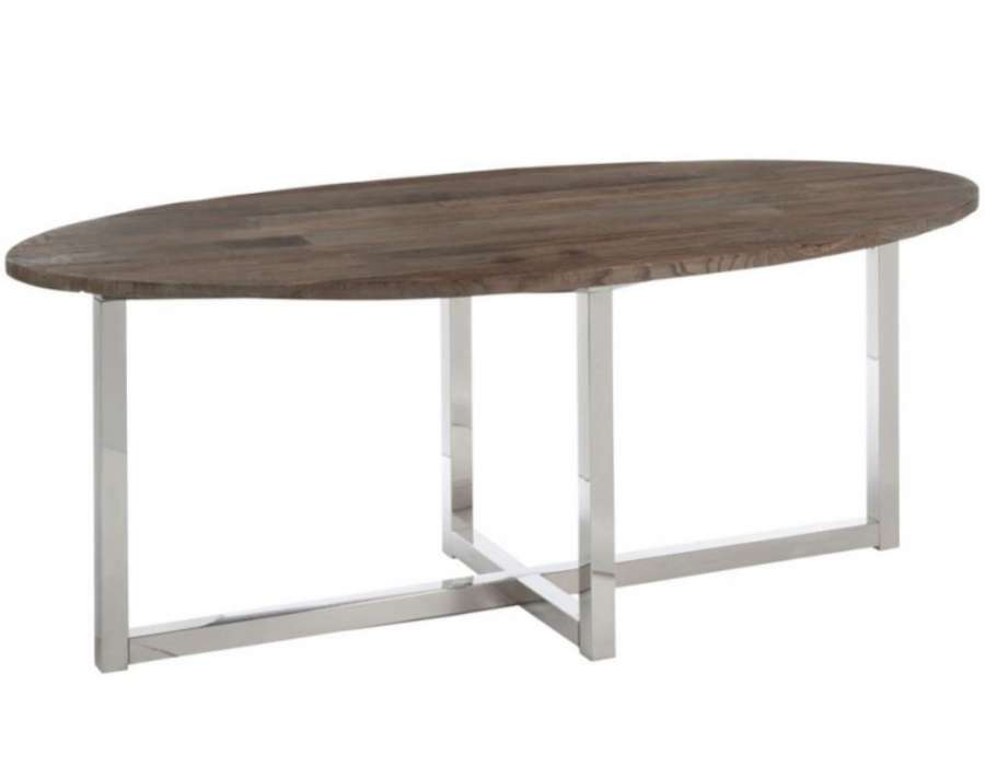 Grande table de 2 m ovale contemporaine for Table de salle a manger en bois ovale
