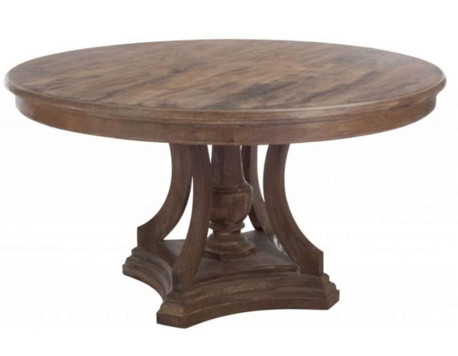 Grande table ronde rustique bois jolipa for Table salle a manger ronde extensible