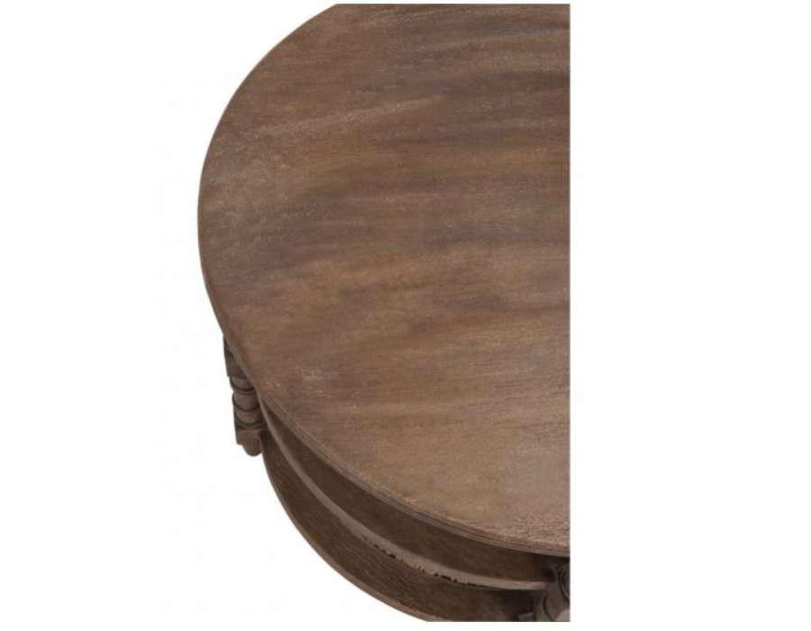 Table salon ronde bois cérusé avec cannage