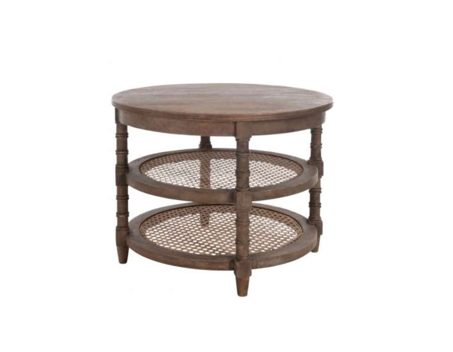 Table basse bois brut ronde for Table bois salon
