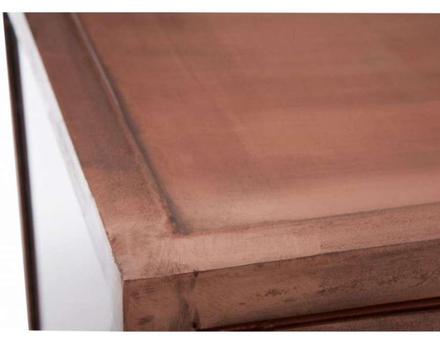 Vitrine basse industrielle métal cuivré