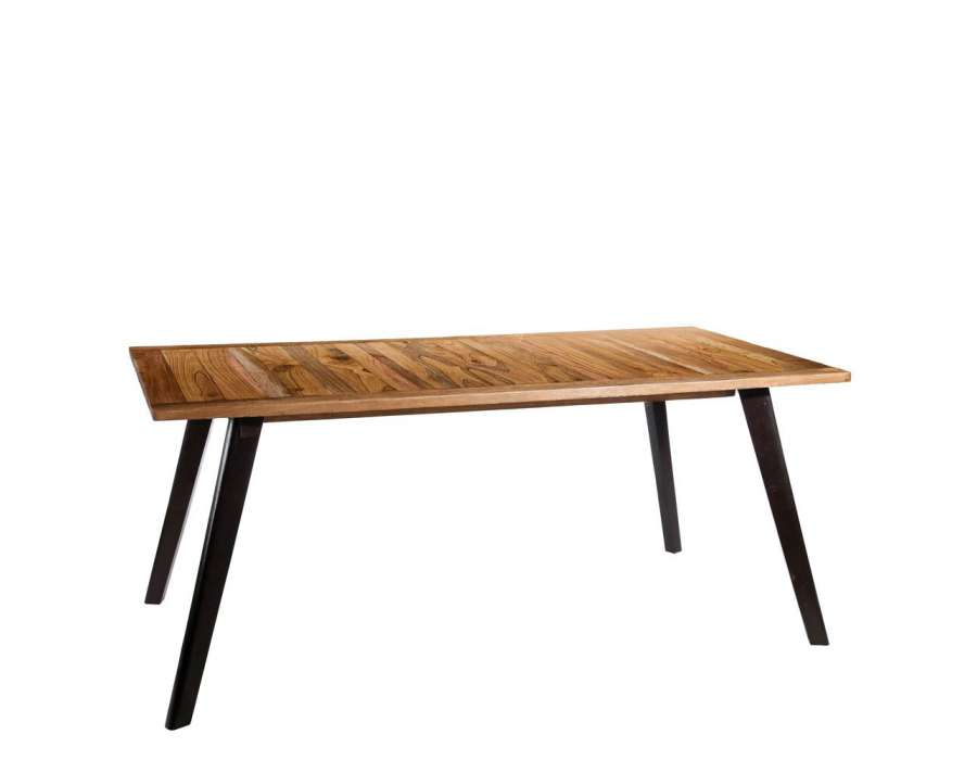 Grande table de salle manger 180 cm bois manguier - Table bois massif contemporaine ...