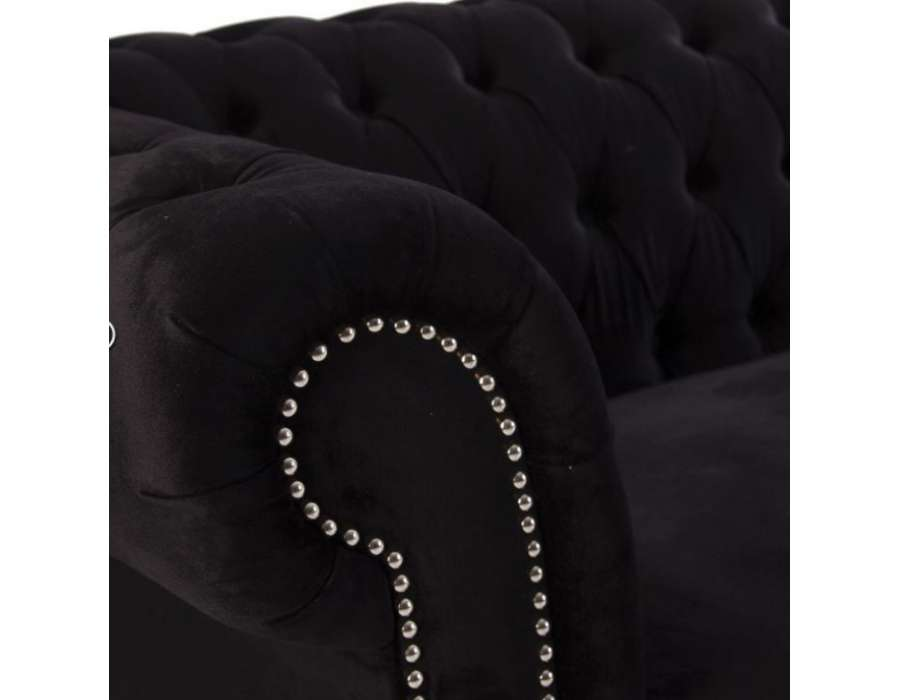 Canapé capitonné velours noir moderne