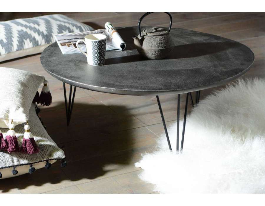 Table basse ronde en aluminium - Table ronde grise ...