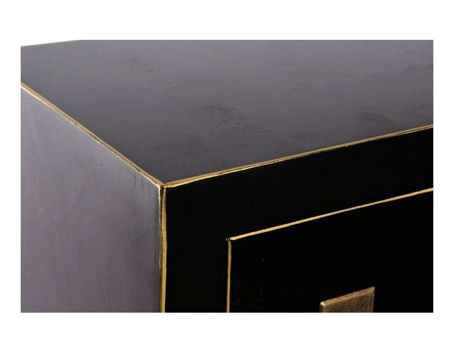 Chiffonnier japonais noir et doré 15 tiroirs