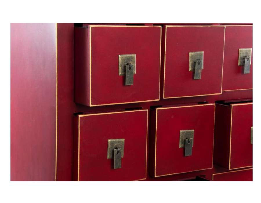Chiffonnier japonais rouge 15 tiroirs