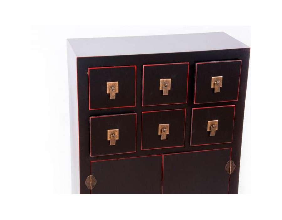 Meuble de rangement chinois noir et rouge