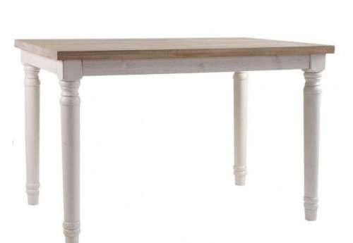 Table de cuisine 120 cm blanche et bois