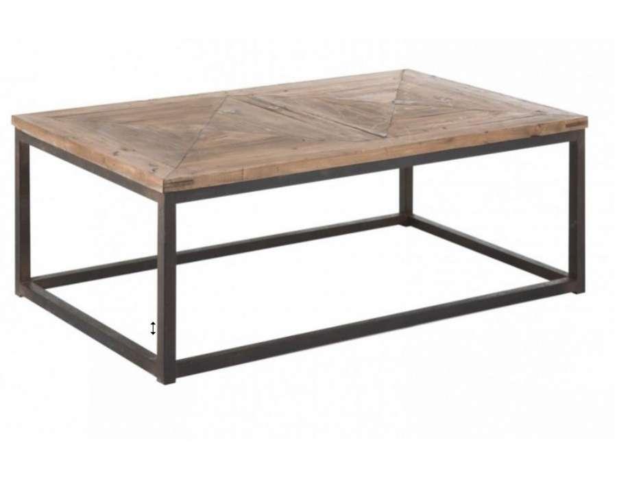 Table basse industrielle plateau bois vical home for Table en bois contemporaine