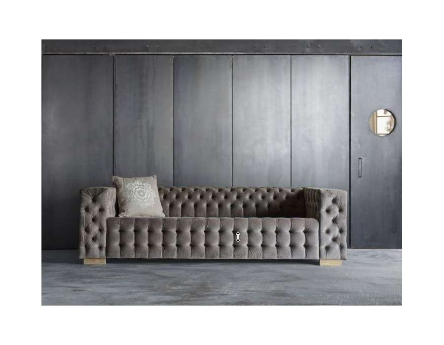 canap capitonn de 250 cm gris clair en velours. Black Bedroom Furniture Sets. Home Design Ideas