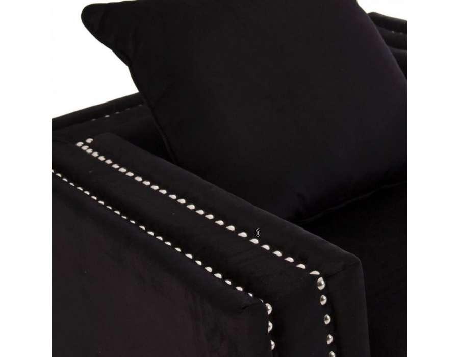 Fauteuil de salon large velours noir