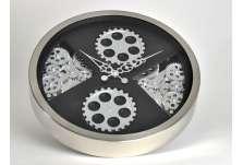 Horloge mécanisme argentée