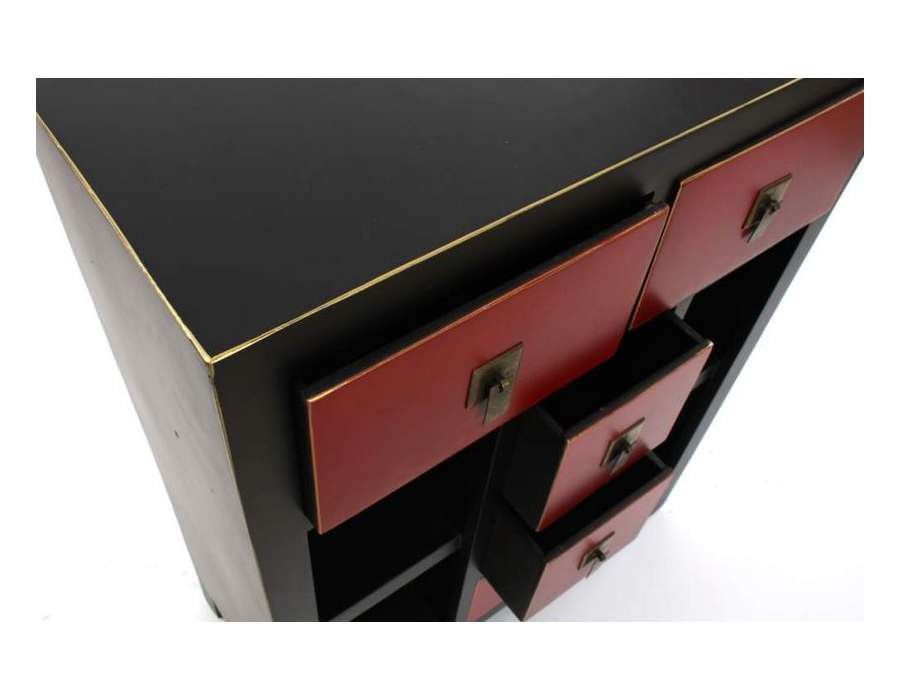 Meuble rouge et noir trendy deco cuisine gris et noir for Meuble rangement japonais
