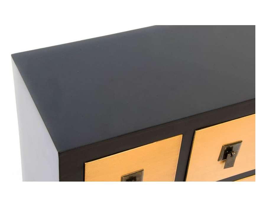 Meuble de rangement Chinois noir et jaune doré avec 8 tiroirs -> Meuble Jaune