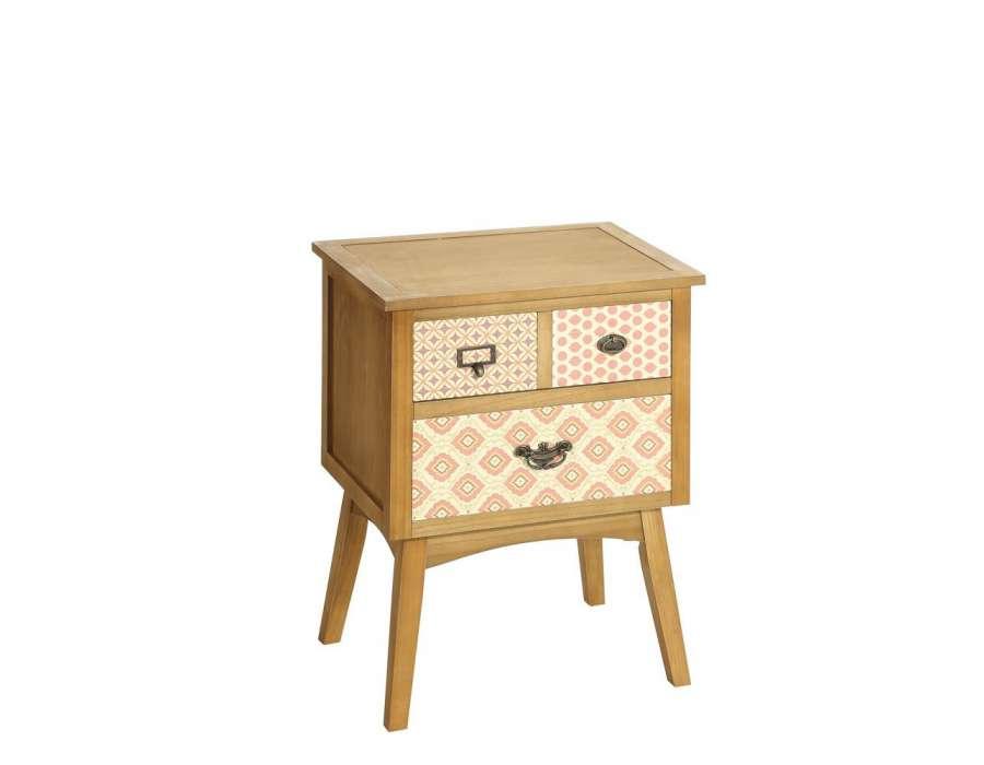 Chevet vintage bois clair avec pieds obliques for Table de chevet bois clair