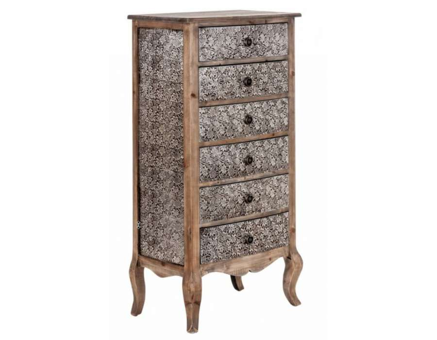 chiffonnier argent et bois oriental avec 6 tiroirs. Black Bedroom Furniture Sets. Home Design Ideas