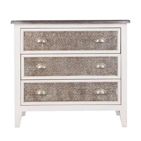 commode argent e et bois blanc meuble chambre vical home. Black Bedroom Furniture Sets. Home Design Ideas