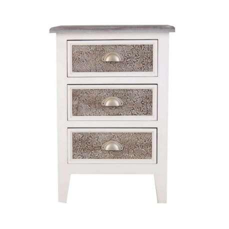 Chevet 3 tiroirs argentés et bois blanc Fès