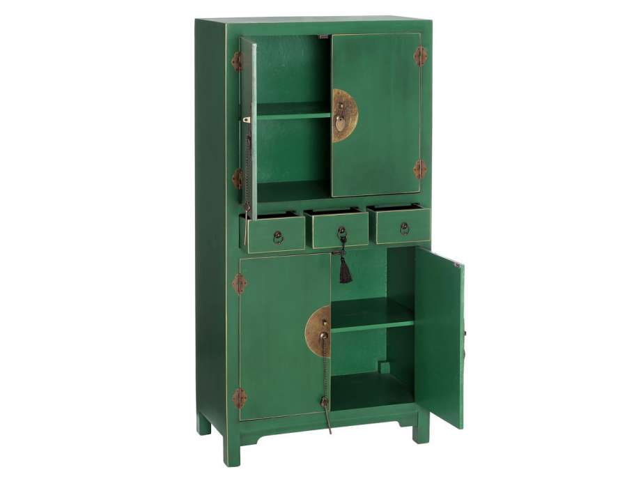 Armoire Chambre Verte : Armoire verte style chinois pour une chambre
