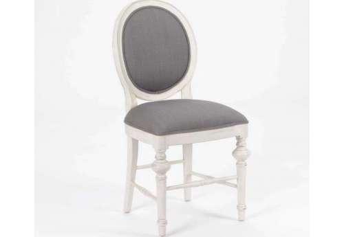 Chaise médaillon grise et bois cérusé