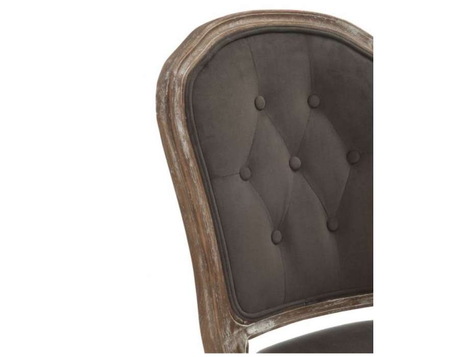 Chaise Louis XV chêne cérusé velours chocolat