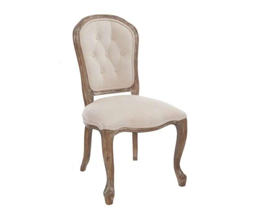Chaise Louis XV chêne capitonné velours beige
