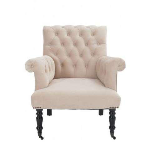 fauteuil capitonn beige fauteuil chic pieds noirs. Black Bedroom Furniture Sets. Home Design Ideas