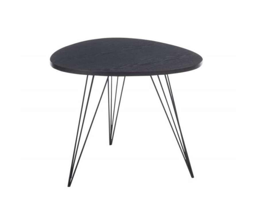 Bout de canap noire r tro design 50 cm metal et bois - Canape design nordique ...