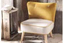 Fauteuil chauffeuse moutarde et beige