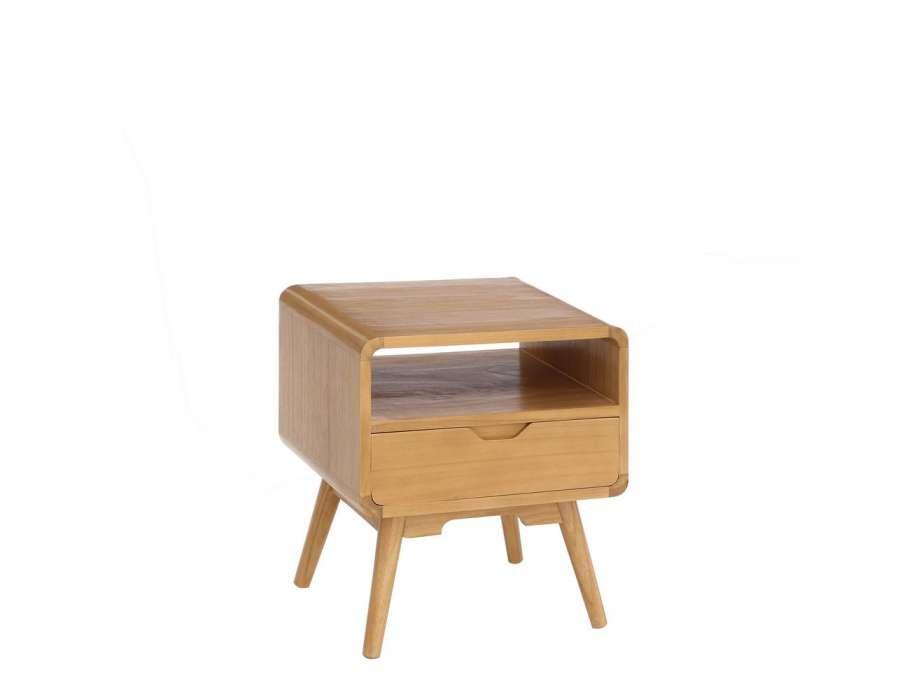 Table de chevet retro bois clair scandinave - Table de chevet bois clair ...
