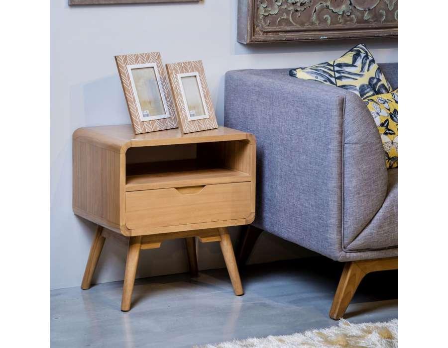 Table de chevet retro bois clair scandinave - Table de chevet retro ...