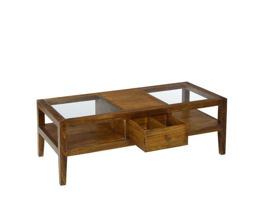 Table basse bois massif avec plateau verre - Table basse bois et verre ...