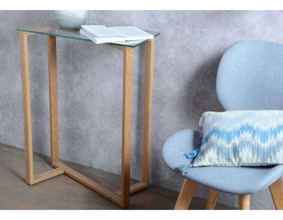 Console petite largeur affordable console verre et bois for Bureau petite largeur