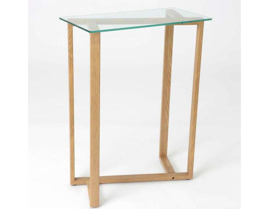 console design avec plateau verre amadeus # Petite Console Bois