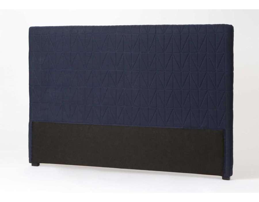 t te de lit 180 cm bleue nuit en lin amadeus. Black Bedroom Furniture Sets. Home Design Ideas