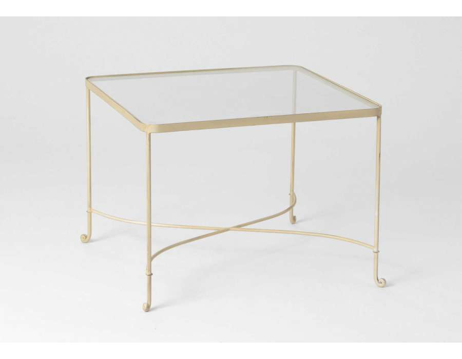 Table basse verre et m tal dor carr e for Table basse verre metal
